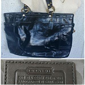 Coach Black Patent Leather Handbag Tote Gallery